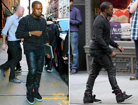 f0abda55df5 Kanye West Spotted Rocking Nike Air Yeezy 2 Sneakers ...
